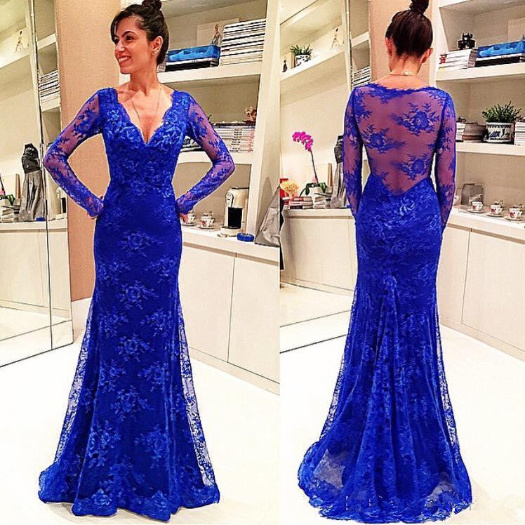 Royal Blue Lace Mermaid Prom Dresses Long Sleeves See Through Prom ...