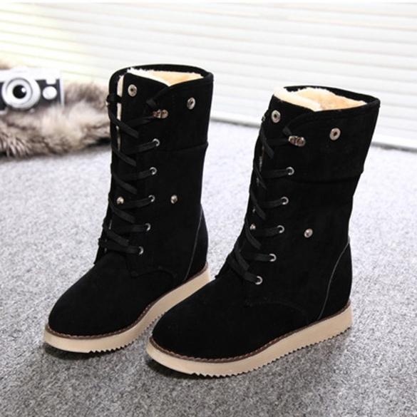 9e7359a885f Fashion Women Winter Warm Lace Up Flat Heel Ankle Snow Boot Fleece ...