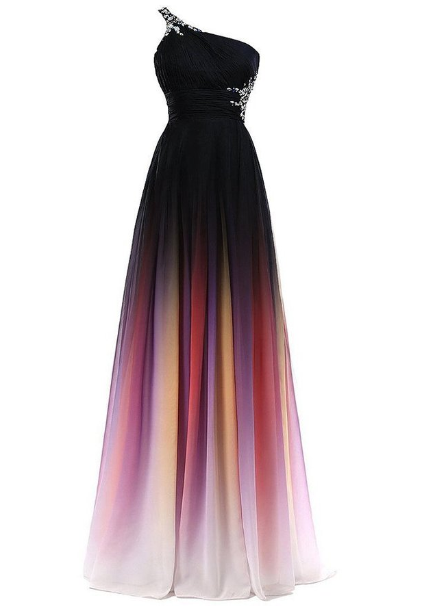 New Colorful Chiffon Gradient Prom Dresses,One Shoulder Black Ombre ...