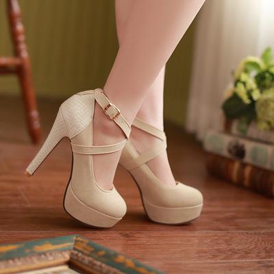 round head high platform working women's heels shoes