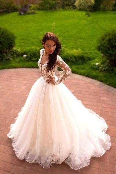 Vintage Boho Summer Wedding Dresses Princess Tulle Lace Skirt Long Sleeves Elegant White Gown