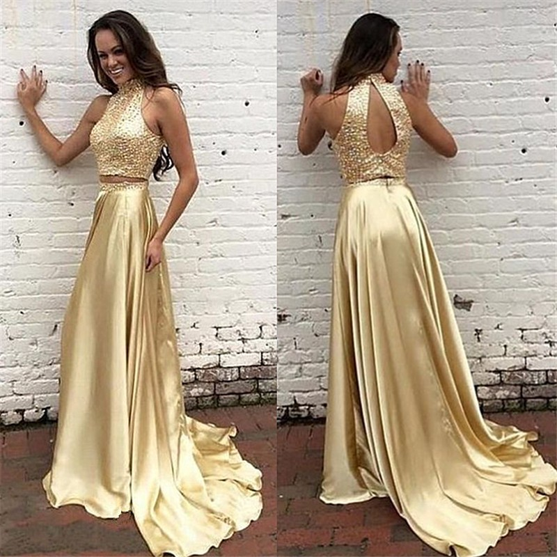 5a91302e5bb Gold 2 pieces scoop floor-length prom dress