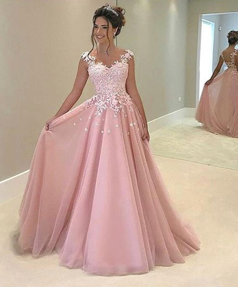 e3aed86748a Stylish pink lace long prom dress