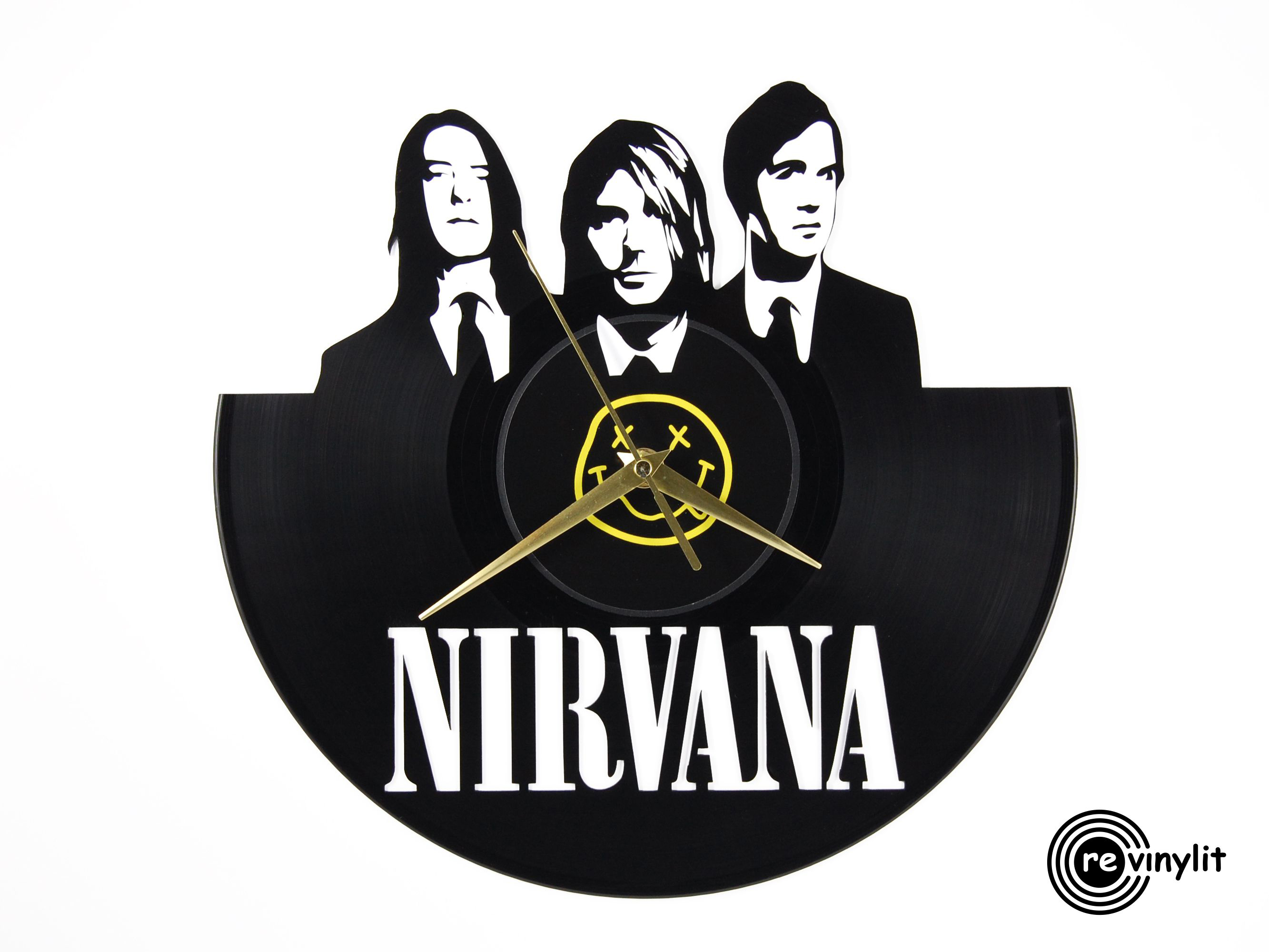 Nirvana vinyl record clock ||| Revinylit sold by Revinylit vinyl record  clocks