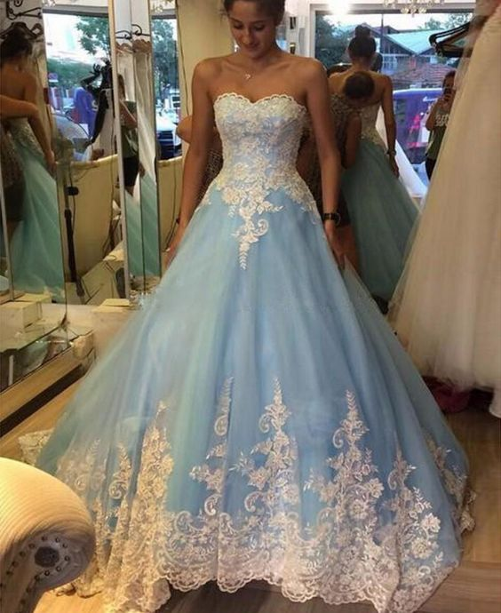 74494440a02 White Lace Light Blue Ball Gown Prom Dresses High Quality ...