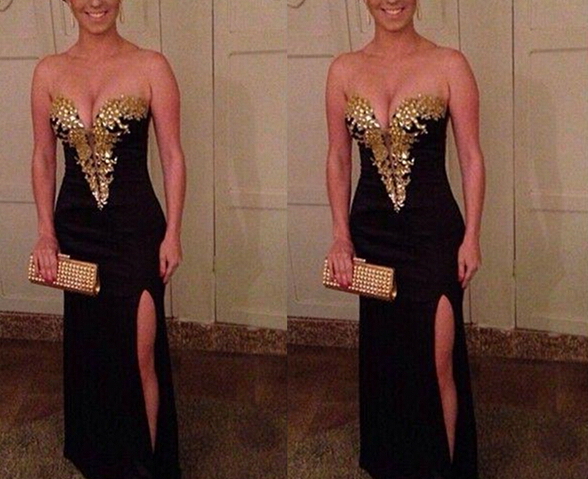 f106a877cd16 New Arrival Gold Crystals Black Prom Dresses,Mermaid Front Slit ...