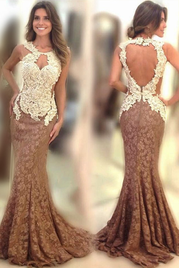 3e67a81f7848 A437 Elegant Scoop Sweep Train Brown Mermaid Lace Prom Dress Open Back with  Appliques Celebrity Dresses