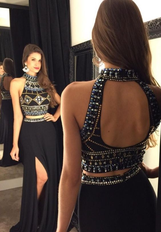 2 Pieces Beading Prom Gowns,Pretty Sparkly Black Prom Dress,Evening ...