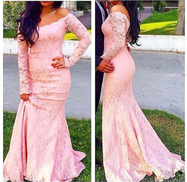 7baa648b94c6 Scoop Pink Lace Mermaid Prom Dresses Fulle Sleeve Backless Elegant Sweep  Train Formal Dress