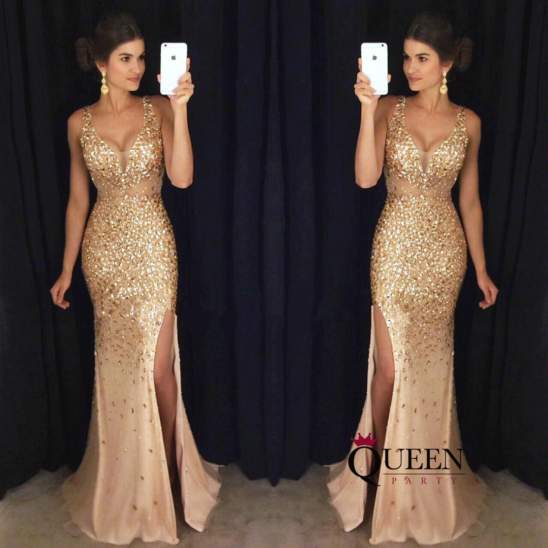 Luxury Gold Beaded Deep V Neck Sheer Bodice Side Slit