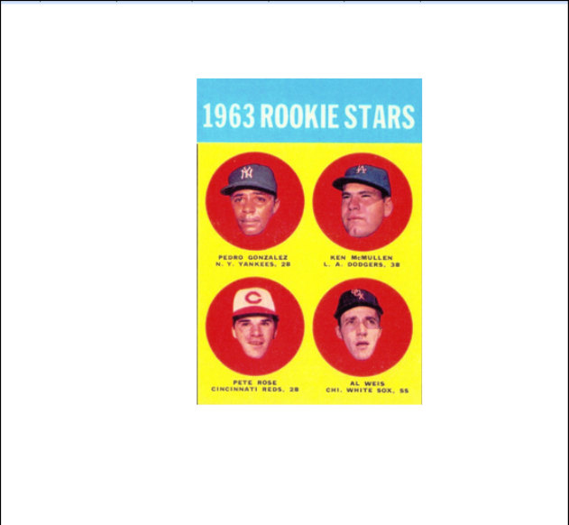 1963 Topps 537 Pete Rose Rookie Card Reds Hit King Read