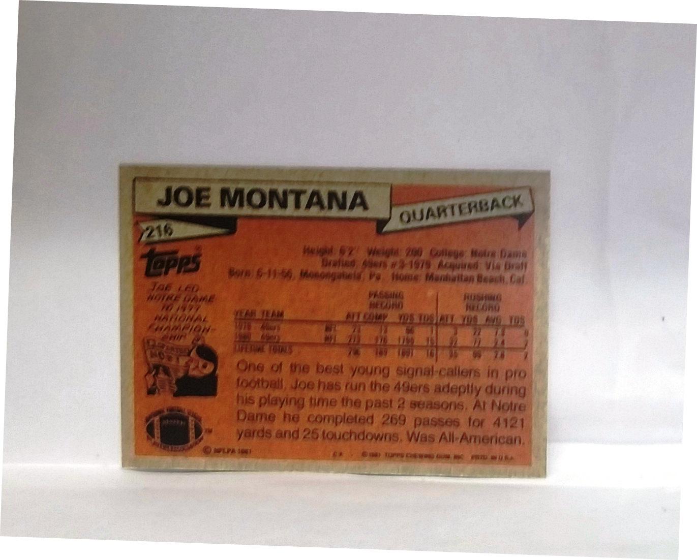 1981 Topps Joe Montana Rookie Card 216 San Francisco 49ers Rc Read From Cardboard Coins