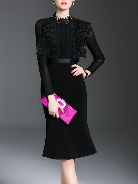 ab2399d6b5a Black Ruffled Lace Elegant Mermaid Midi Dress · Bilkis · Online ...