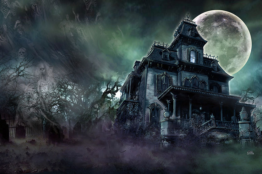 The Haunted House - Art Print Poster - Paranormal Ghost ...