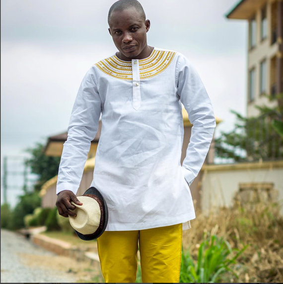 629e95910b White & Gold Men's Long Sleeve Shirt and Trousers African Clothing Men's  Wear from Ramsjay Designs