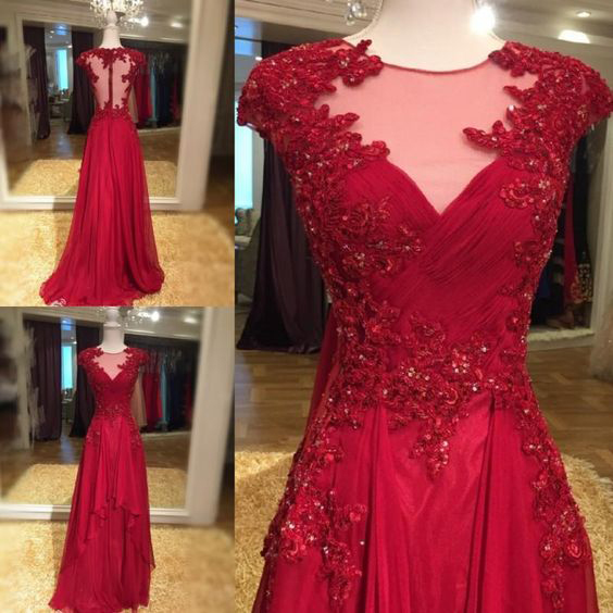Illusion Neck Red Chiffon with Lace Appliqued Prom Dresses Long ...