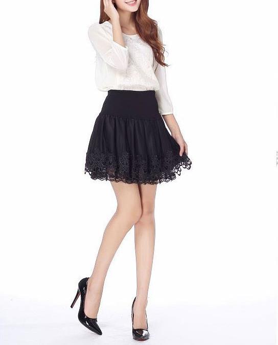 4c2deeb422 ... XS S M black tulle mesh satin trim lace tiered kawaii goth mini skirt  skater - Thumbnail ...
