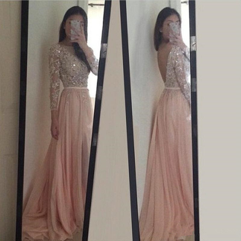 Beautiful Long Sleeve Lace Appliques Beaded Backless Light Pink Prom ...