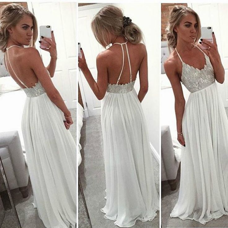9d7e8c99d8 Simlple white v neck chiffon long pom dress ,white evening dress ...