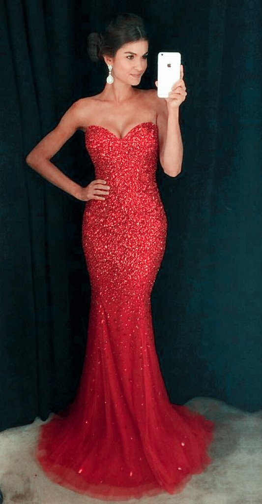 89054e502fab Amazing Red Mermaid Prom Dress