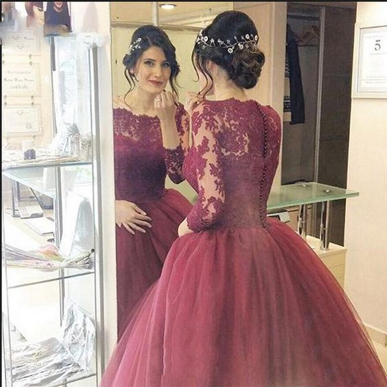 7cceacbbc8eca Burgundy Evening Prom Dresses Lace Three Quarter Sleeve Ball Gown ...