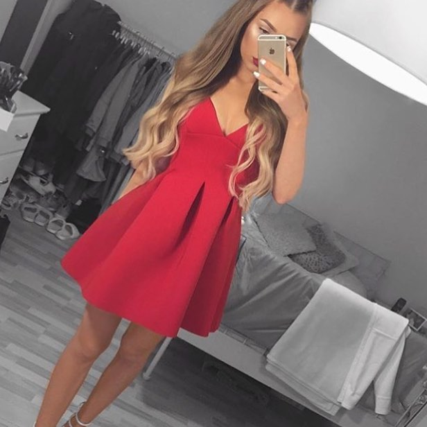 Cute red v neck short prom dress,red homecoming