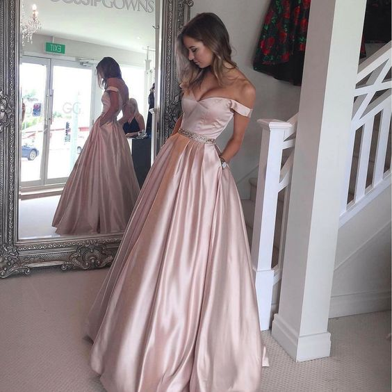 6c326bdf872 Hot-Selling Off Shoulder Ball Gown Pearl Pink Long Prom Evening Dress on  Storenvy
