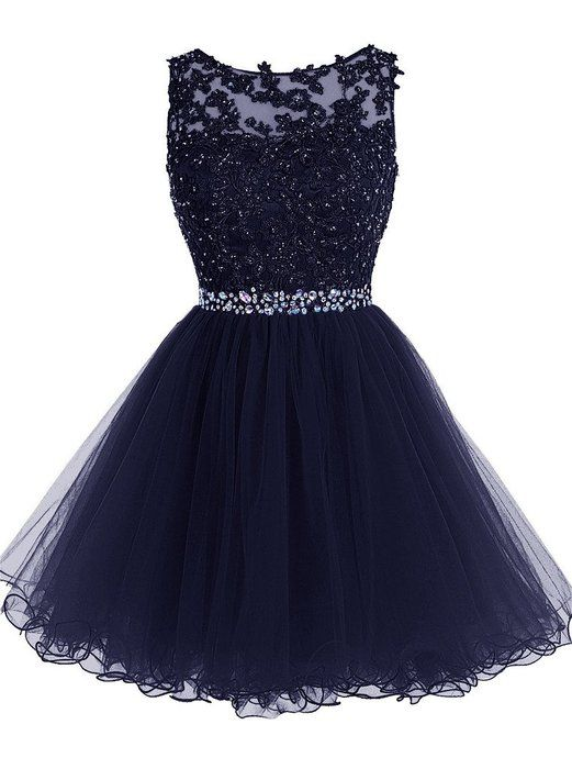 Charming dark blue lace short prom dress,