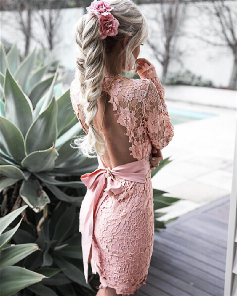 3df70d38c9c8a Pink Lace Dress With Short Sleeves - raveitsafe