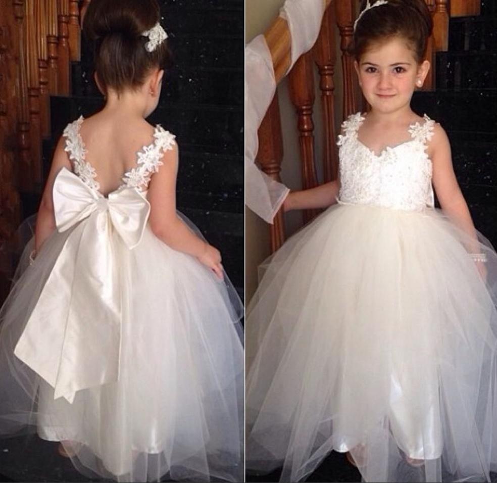 88503e6515f Cute A-line Ivory Long Flower Girl Dress with Ribbon · modsele ...