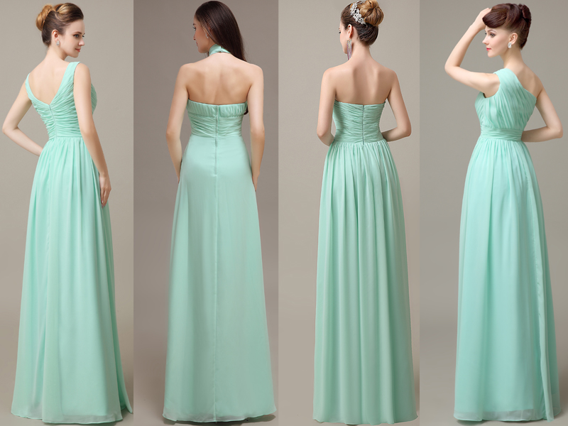 Simple Mint Chiffon Long A-line Bridesmaid Dresses,Cheap