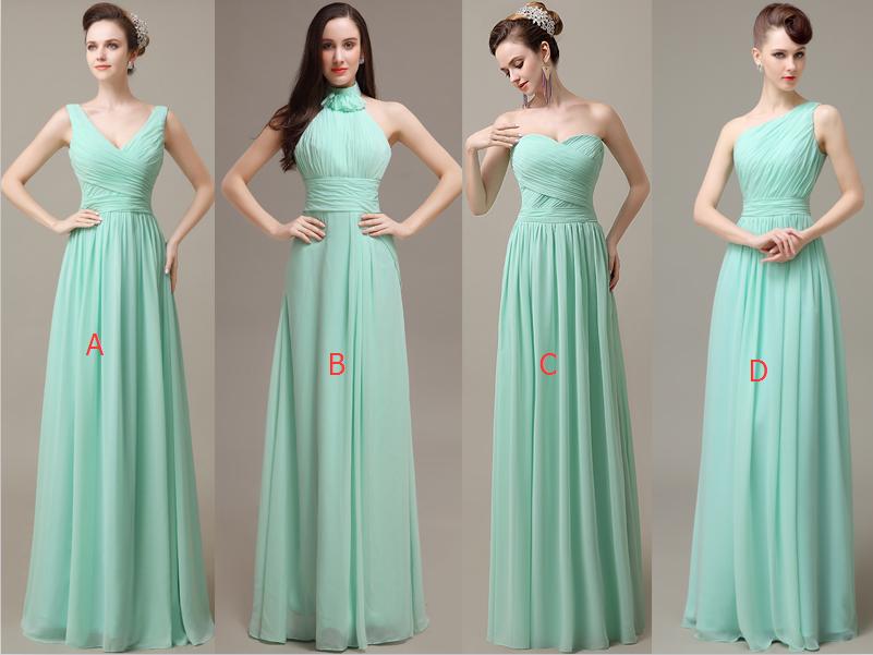 4ee6cbfcd61 Simple Mint Chiffon Long A-line Bridesmaid Dresses