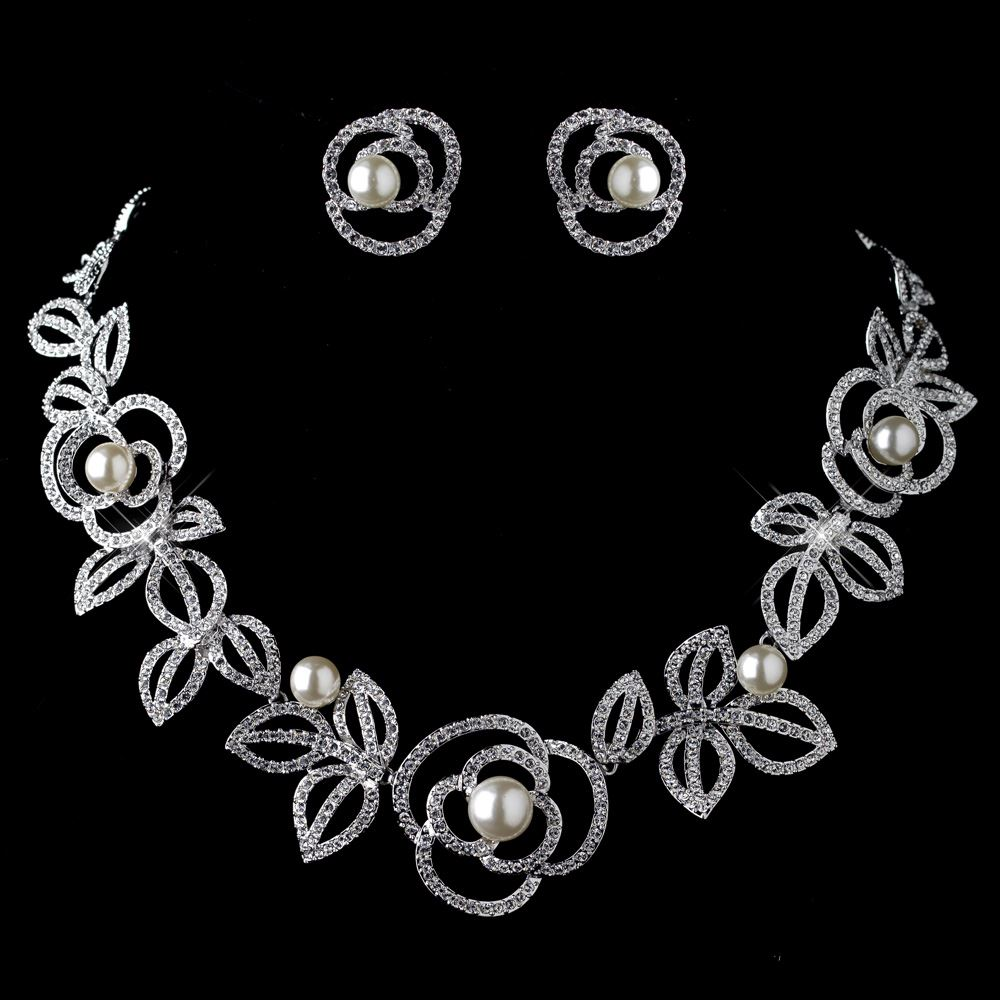 Rhodium Diamond White Pearl Necklace Earring Rose Jewelry Set ... 5caec9dbb6