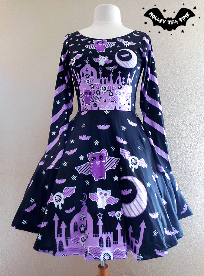 652f6bbc19 ☆ Spooky Bats ☆ Long Sleeve Skater Dress ☆ Made To Order ✧ Creepy cute,  Kawaii, Pastel Goth, Harajuku Fashion, Halloween, Stripes on Storenvy