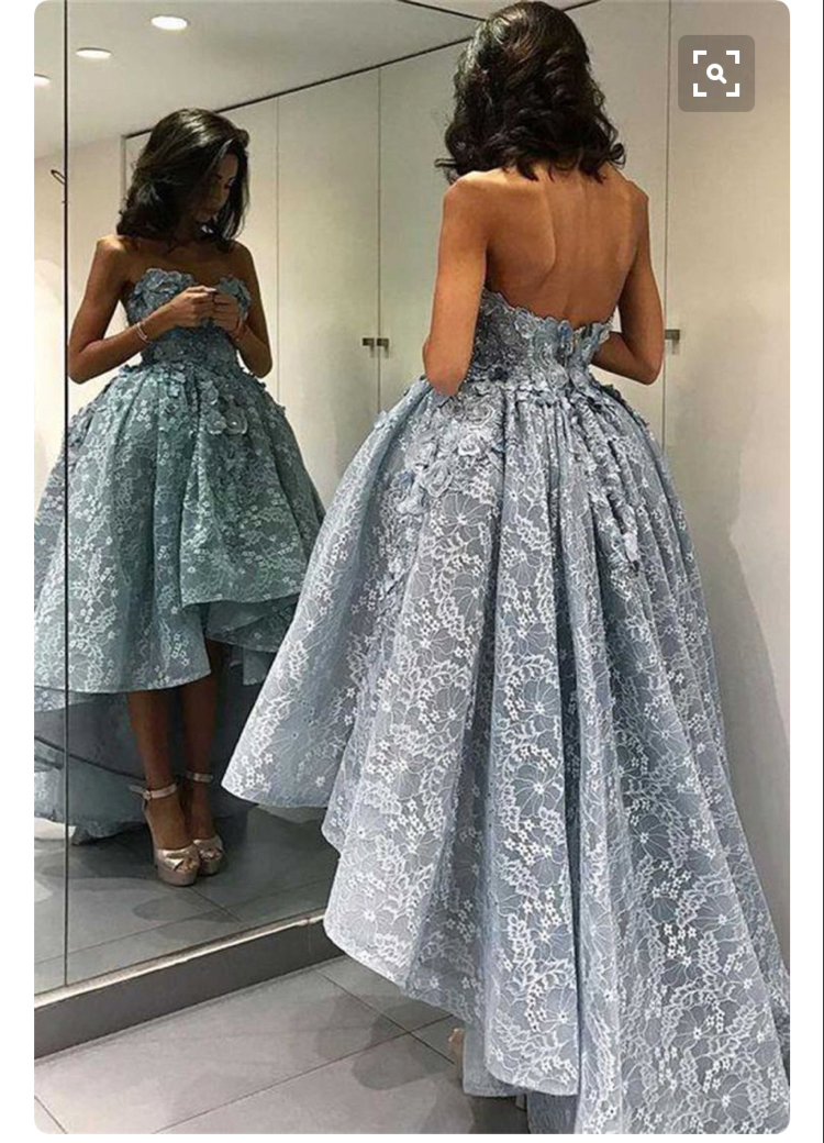 Lace Prom Dress,High low Prom Dress,Ball Gown Formal Party Dress ...