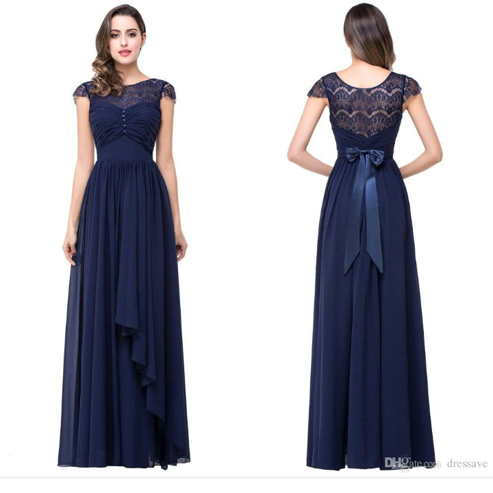 A Line Simple Prom Dress Navy Blue Chiffon Long Bridesmaid Dresses Wedding Party Gowns For Bridesmaid Apd1952 From Diydresses