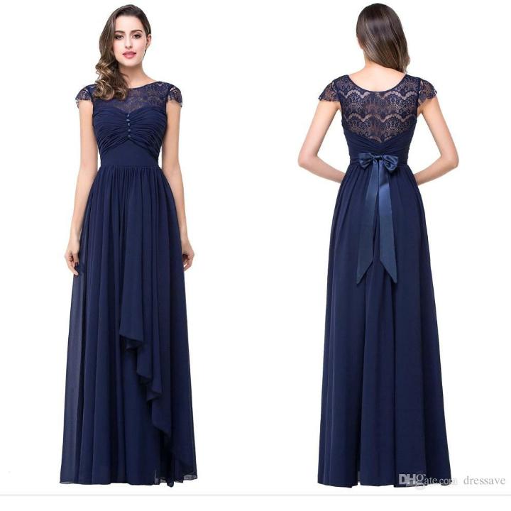 A-line Simple Prom Dress,Navy Blue Chiffon Long Bridesmaid Dresses ...