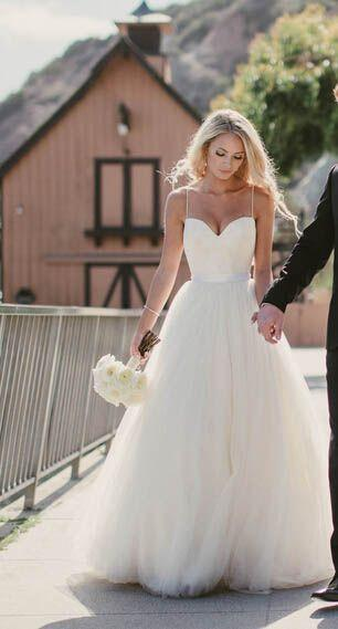 Beautiful Wedding Dress Spaghetti Straps Wedding Dresses A Line Wedding Dress Simple Wedding Dresses Charming Wedding Dress Pd0021 From Warmthhouse