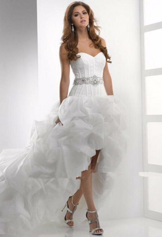 D46 Real Made Sweetheart Ruffle Chapel Train Organza Wedding Gowns ...