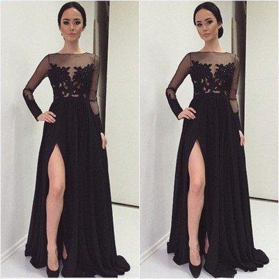 bb67ba82db5c32 2017 Custom Made Charming Black Prom Dress,Appliques See Through Evening  Dress,Long Sleeves Party Dress on Storenvy