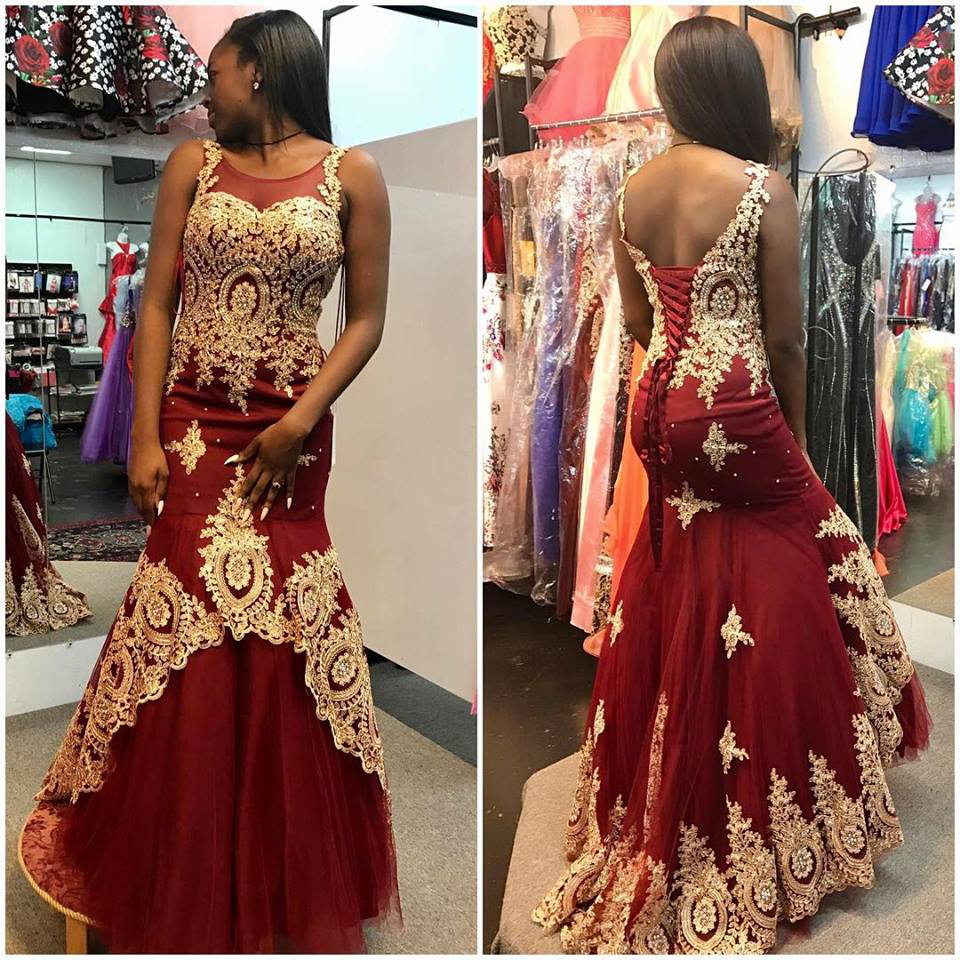 Gold Lace Appliqued Burgundy Prom Dresses,Mermaid Pageant Dresses ...