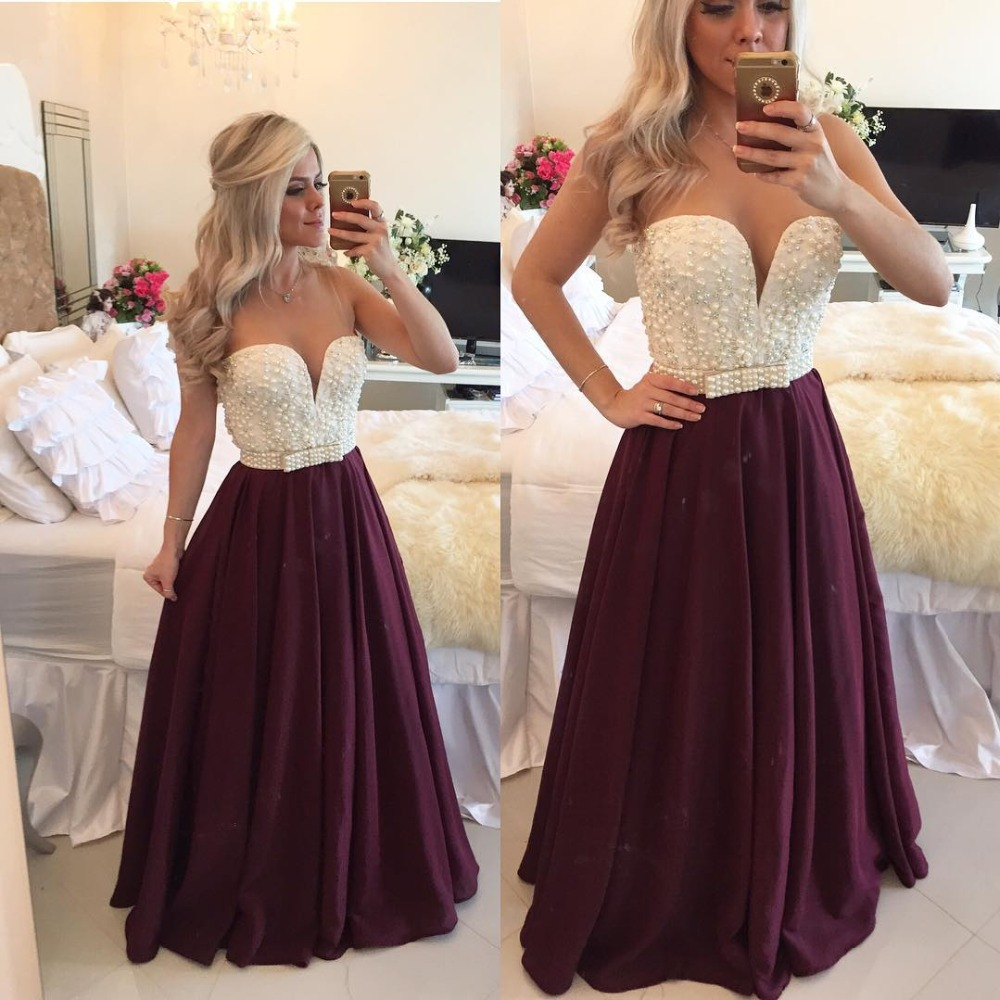 Sexy Burgundy Prom Dress 2017 with Pearls Long Plus Size Evening ...
