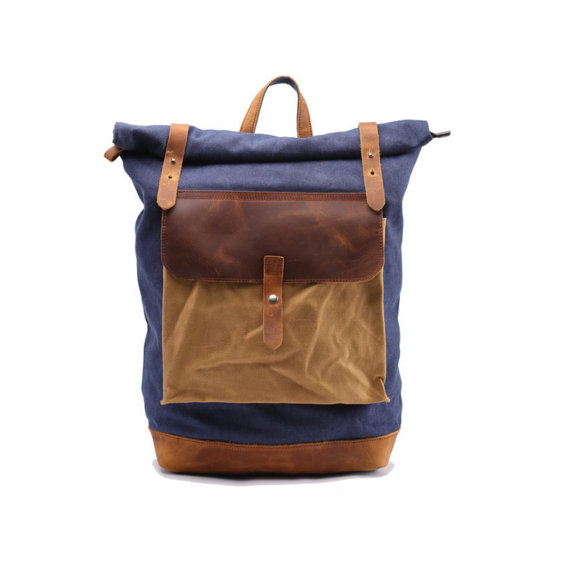 343df091b23 Leather Backpack / Waxed Canvas Backpack / Waxed Canvas Rucksack / Laptop  Backpack / Vintage Backpack