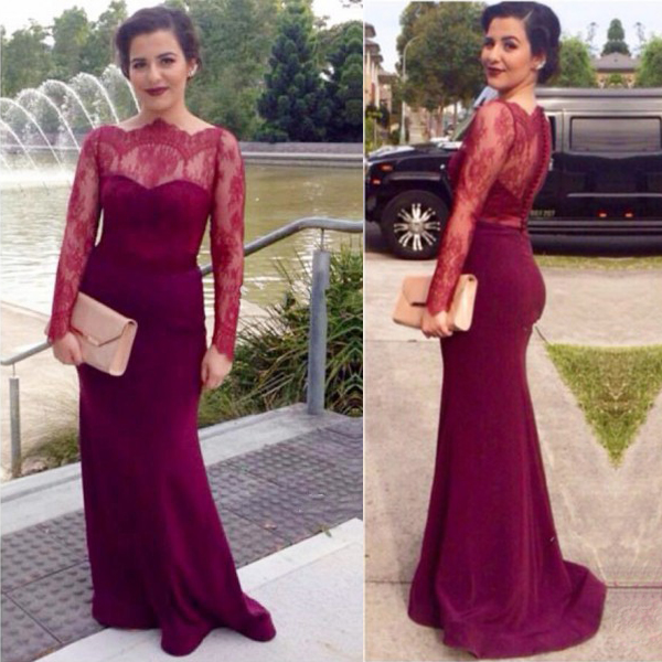 3c437e1d24c Burgundy Illusion Long Sleeve Lace Top Floor Length Mermaid Prom Dress