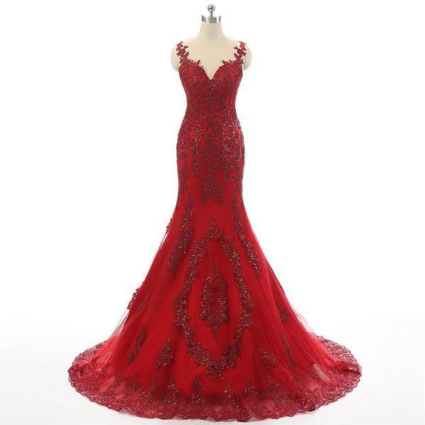 Red V Neck Sleeveless Lace Tulle Mermaid Wedding Dresses Bridal
