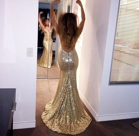 Sparkly Mermaid V Neck Open Back Gold Sequin Prom Dress On