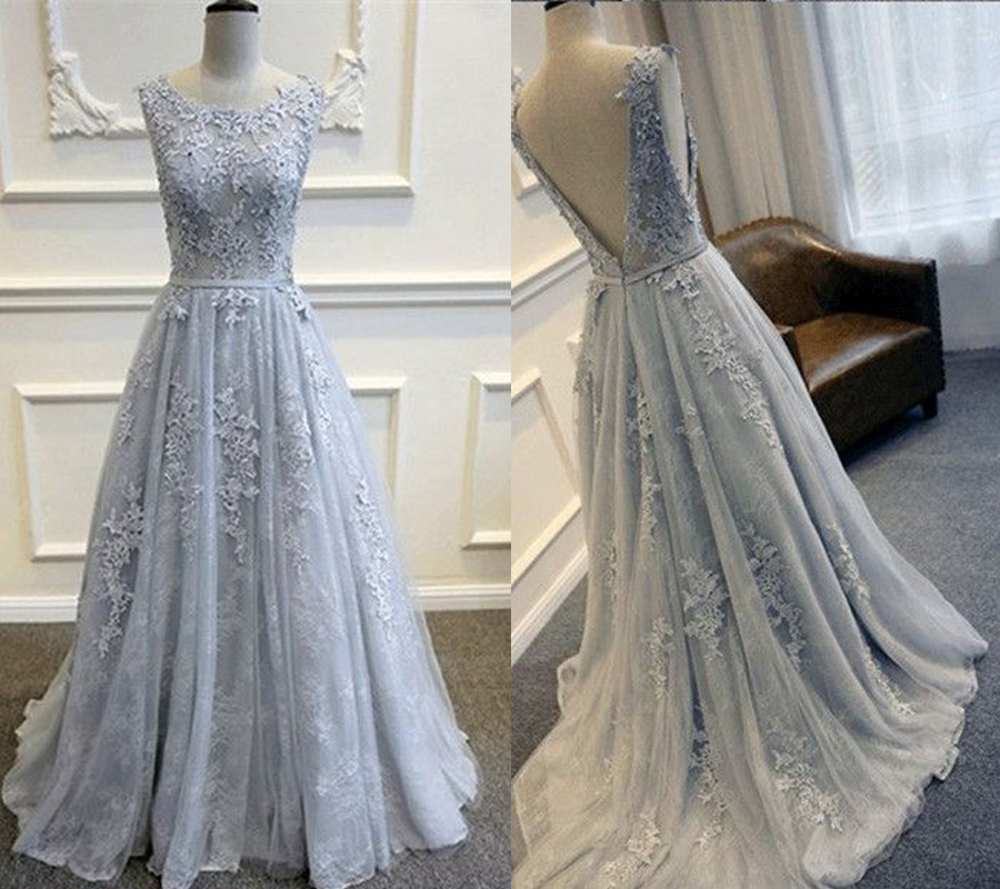 A-line Gray Lace Prom Dress,Long Pageant Dress,Senior Prom