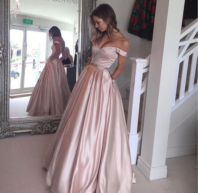 Off The Shoulder Pink Prom Dresses Celebrity Dresses Wedding Party