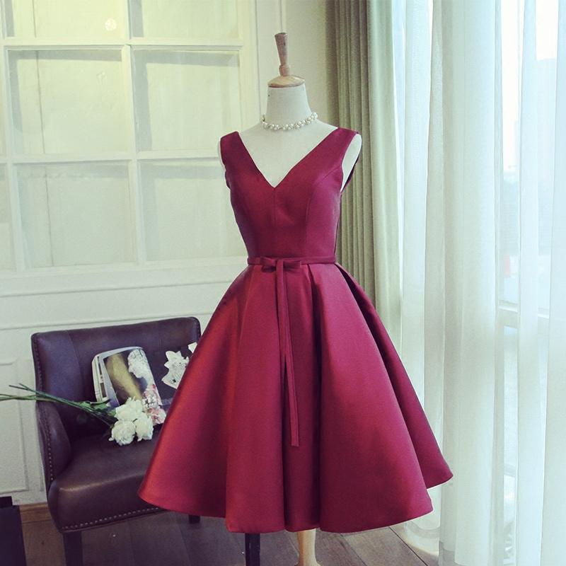 8736c2d65e3 Cute burgundy v neck short prom dress