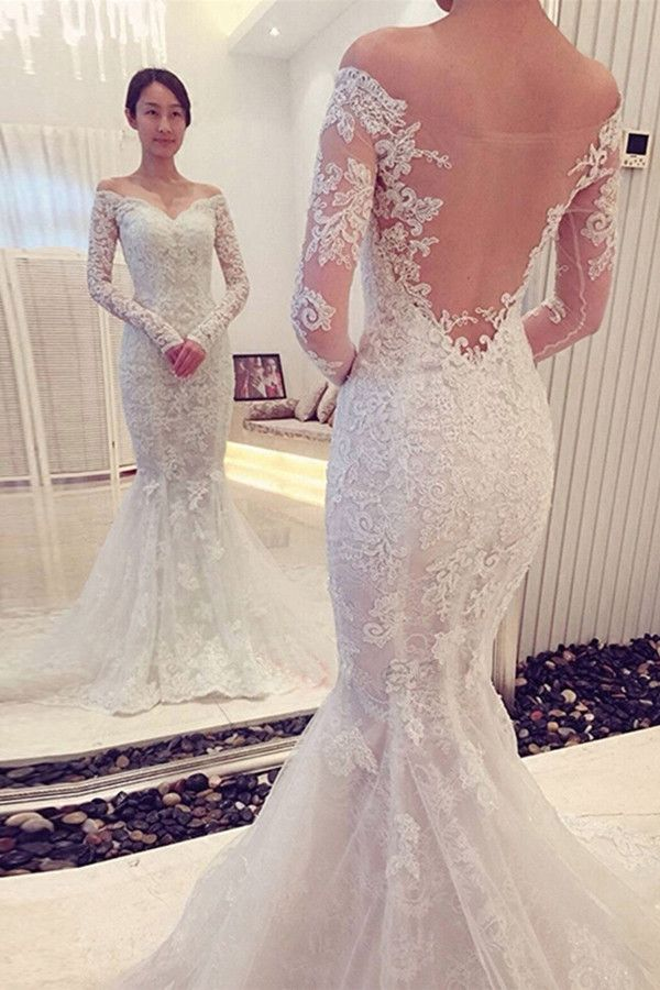 H251 Charming Off The Shoulder Long Sleeves Lace Mermaid Wedding ...